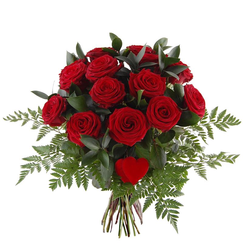 Bukiet 15 róż z sercem Telekwiaciarnia